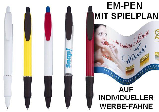 EM-Pen mit individueller Werbe-Fahne und Spielplan in Sonderanfertigung