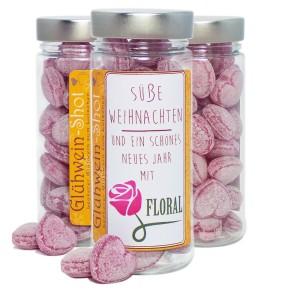 süße Werbung mit bonbons in der dose mit werbeetikett