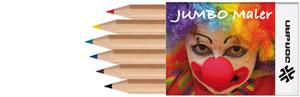 Jumbo-Kurzbuntstifte, Buntstifte im 6-er Pack, , Werbe-Buntstifte, Werbe-Geschenk, Werbe-Malstifte, Werbe-Motive ausmalen, Werbe-Stifte, Werbeartikel für Kinder,