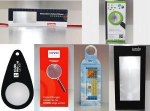 Lupen Karte Sonderform, Lupenlesezeichen, Folien-Lupe, Papierlesezeichen, Werbefläche mit Lupe