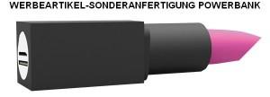 PowerBank_PVC_Lippenstift, Werbeartikel-Sonderanfertigung