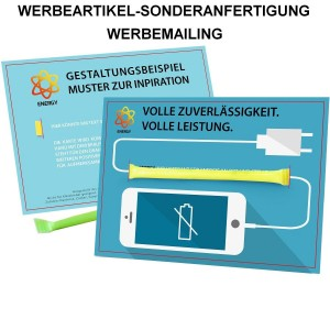 SA-1021 Energie Mailingkarte - Brausepulver - als Werbeartikel-Sonderanfertigung