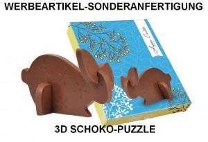 Werbeartikel-Sonderanfertigung aus Schokolade, Sonderprodunktion, 3D Schoko-Puzzle Osterhase