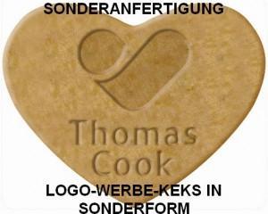 Logo-Werbe-Keks in Sonderform im Flowpack mit Prägung