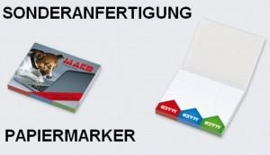 Sonderanfertigung Papiermarker mit Kartonumschlag