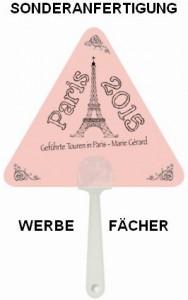 Sonderanfertigung Werbe-Fächer in Sonderform Dreieck für die Tourismus-Branche