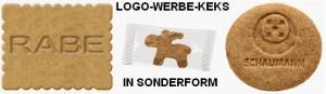 Werbe-Keks in Sonderform mit Logo-Prägung