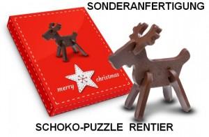 Schoko-Puzzle Rentier in Sonderanfertigung