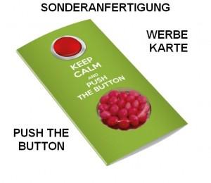 Sonderanfertigung Push the Button Werbe-Karte