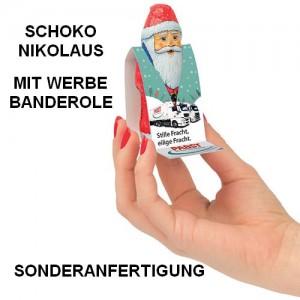 Schoko-Nikolaus von Gubor mit Werbe-Banderole in Sonderanfertigung