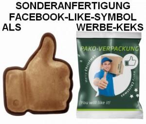 Sonderanfertigung Facebook-Like-Symbol im Flowpack als Werbe-Keks mit Spekulatius-Geschmack