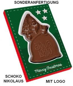 Sonderanfertigung Schoko-Nikolaus mit Logo für Weihnachten