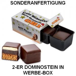 Werbe-Box mit 2er Dominostein in Sonderanfertigung