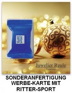 Werbe-Karte in Sonderanfertigung mit Ritter-Sport Schokolade