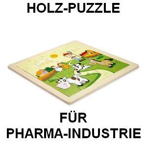 Holz-Puzzle Woody, Werbe-Präsent für Pharma-Industrie und Krankenkassen