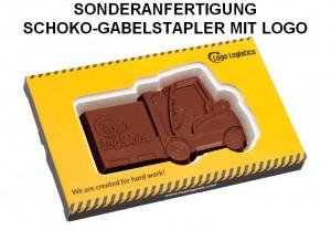 Sonderanfertigung Schoko-Gabelstapler mit Logo