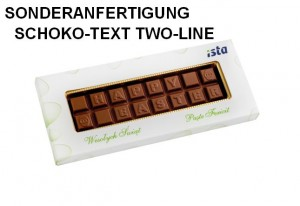 Sonderanfertigung Schoko-Text Two-Line