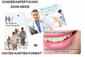 Sonderanfertigung Zahn-Seide im Visiten-Karten-Format, dentOcard