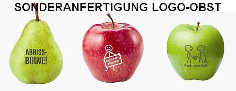 Sonderanfertigung Logo-Obst, Werbeartikel-Sonderanfertigung Logo-Apfel, Werbemittel Logo-Birne