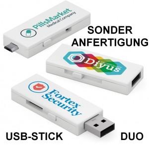 Werbeartikel-Sonderanfertigung USB-Stick, USB-Stick Duo als Werbemittel, Multimedia-Werbeartikel USB-Stick, USB-Stick für Smartphone und Tablet
