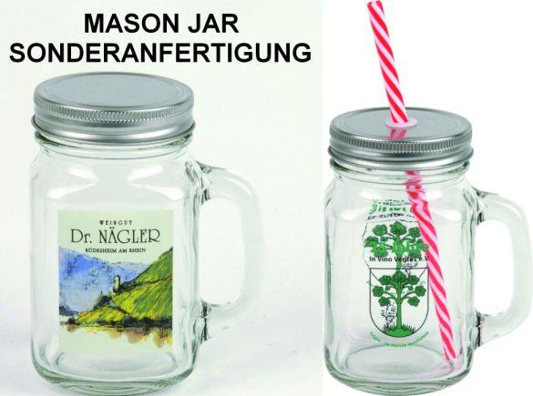 Mason Jar in Sonderanfertigung, Einmachglas mit Henkel, Werbeartikel-Sonderanfertigung Einmachglas mit Logo-Druck, Kult-Glas Mason Jar als Werbeartikel