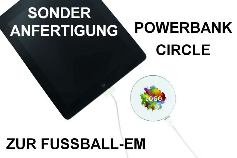 Powerbank Circle in Sonderanfertigung zur Fußball-EM 2016, EM-Fanartikel bedrucken, WM-Werbemittel in Sonderanfertigung