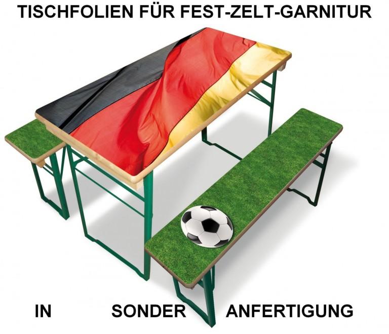 Deko-Folie in Sonderanfertigung im Deutschland-Look, Tischfolie für Fest-Zelt-Garnitur, Bier-Bank Tisch-Decke bedrucken