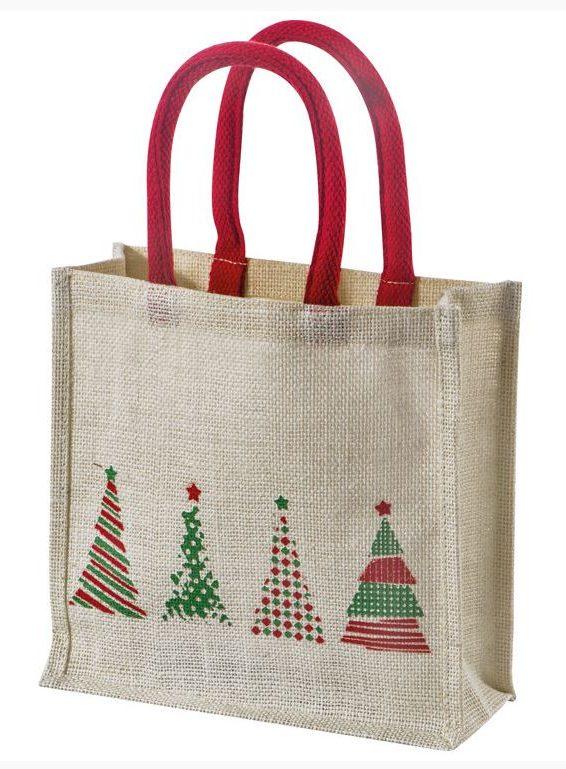 Robuste Jute-Tasche mit weihnachtlichen Motiven