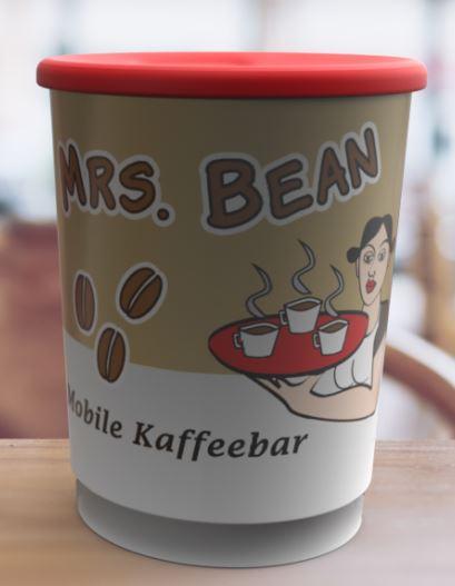 Rundum bedruckter Kaffeebecher