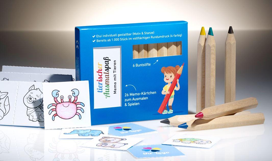 Holzmalstifte mit Memorykärtchen zum Ausmalen