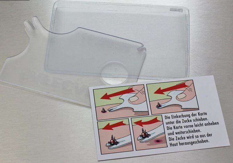Zeckenkarte mit neutraler PVC-Hülle