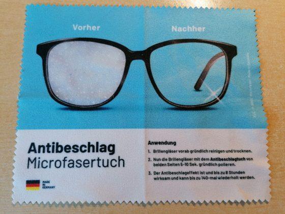 Mikrofasertuch zur Brillenreinigung gegen Beschlagen