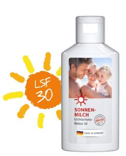 LSF30-Sonnencreme mit eigenem Etikett