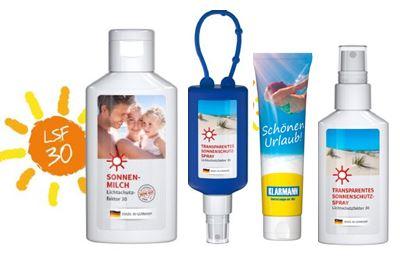Hochwertige Sonnencreme als Werbeträger