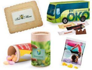 Schokolade, Fruchtgummi mit Firmenwerbung