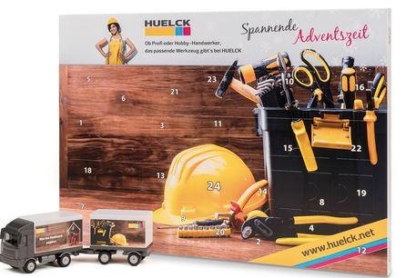 Adventskalender mit Bauteilen eines LKW zum Basteln